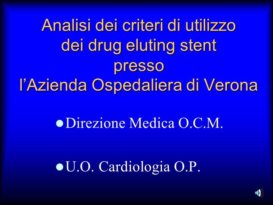 Analisi dei criteri di utilizzo dei drug eluting stent presso lAzienda Ospedaliera di Verona Direzione Medica O.C.M. U.O. Cardiologia O.P.