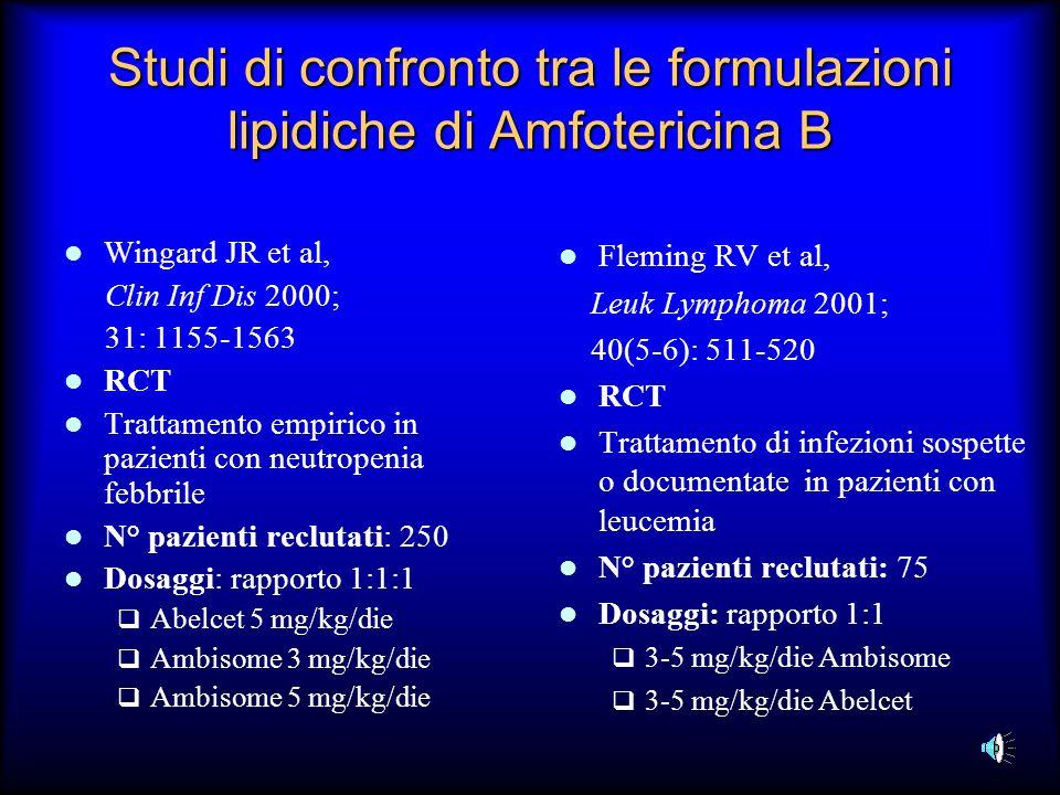 Studi di confronto tra le formulazioni lipidiche di Amfotericina B Wingard JR et al, Clin Inf Dis 2000; 31: 1155-1563 RCT Trattamento empirico in pazi