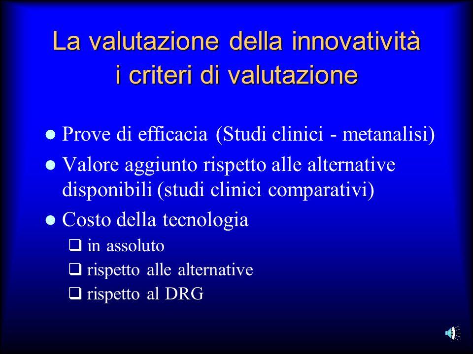 La valutazione della innovatività i criteri di valutazione Prove di efficacia (Studi clinici - metanalisi) Valore aggiunto rispetto alle alternative d