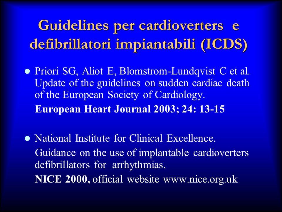 Guidelines per cardioverters e defibrillatori impiantabili (ICDS) Priori SG, Aliot E, Blomstrom-Lundqvist C et al. Update of the guidelines on sudden