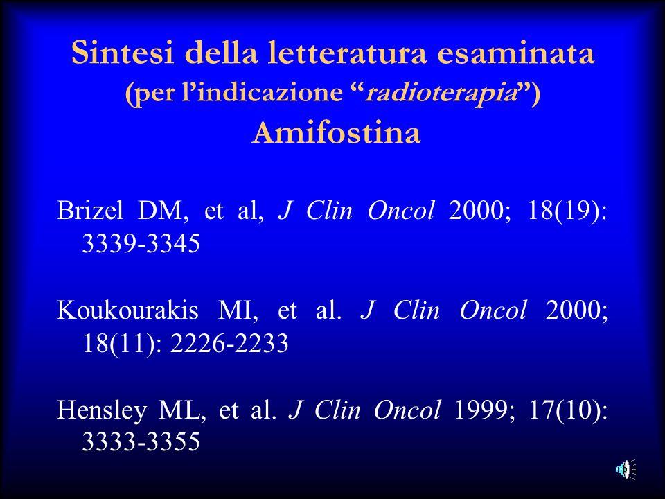 Sintesi della letteratura esaminata (per lindicazione radioterapia) A mifostina Brizel DM, et al, J Clin Oncol 2000; 18(19): 3339-3345 Koukourakis MI,