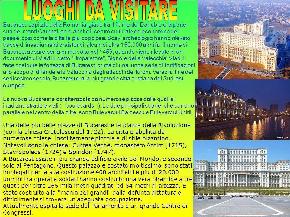 Bucarest, capitale della Romania, giace tra il fiume del Danubio e la parte sud dei monti Carpazi, ed e anche il centro culturale ed economico del pae