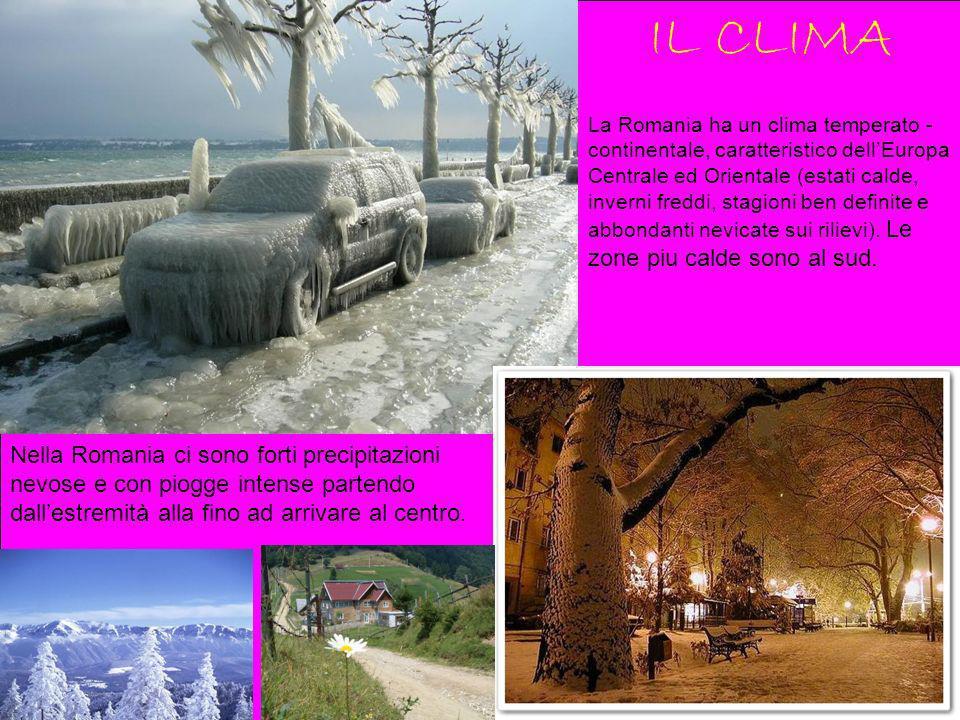 IL CLIMA La Romania ha un clima temperato - continentale, caratteristico dellEuropa Centrale ed Orientale (estati calde, inverni freddi, stagioni ben