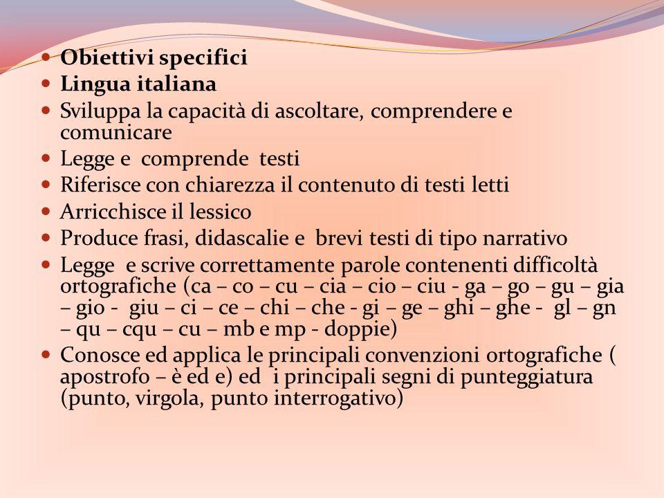Obiettivi specifici Lingua italiana Sviluppa la capacità di ascoltare, comprendere e comunicare Legge e comprende testi Riferisce con chiarezza il contenuto di testi letti Arricchisce il lessico Produce frasi, didascalie e brevi testi di tipo narrativo Legge e scrive correttamente parole contenenti difficoltà ortografiche (ca – co – cu – cia – cio – ciu - ga – go – gu – gia – gio - giu – ci – ce – chi – che - gi – ge – ghi – ghe - gl – gn – qu – cqu – cu – mb e mp - doppie) Conosce ed applica le principali convenzioni ortografiche ( apostrofo – è ed e) ed i principali segni di punteggiatura (punto, virgola, punto interrogativo)