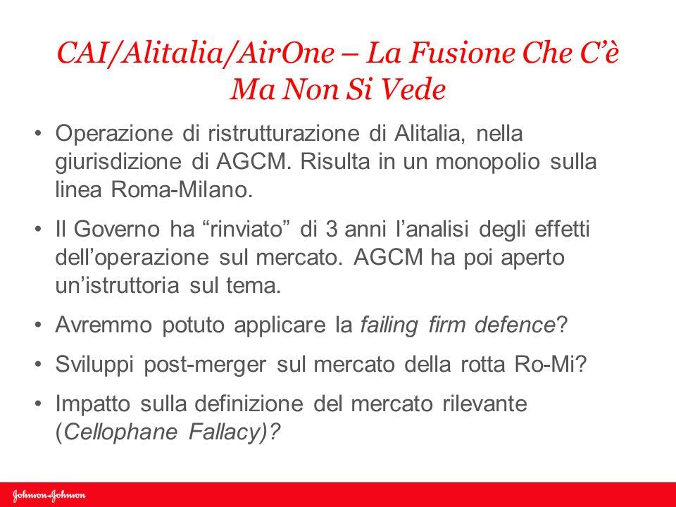 CAI/Alitalia/AirOne – La Fusione Che Cè Ma Non Si Vede Operazione di ristrutturazione di Alitalia, nella giurisdizione di AGCM. Risulta in un monopoli