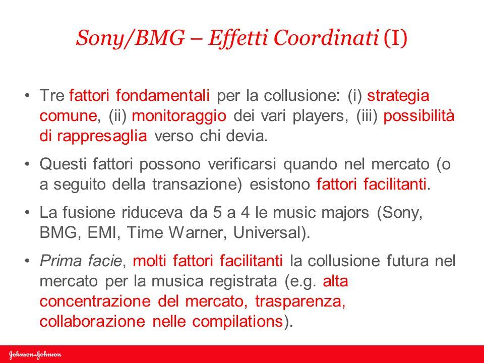 Sony/BMG – Effetti Coordinati (I) Tre fattori fondamentali per la collusione: (i) strategia comune, (ii) monitoraggio dei vari players, (iii) possibil