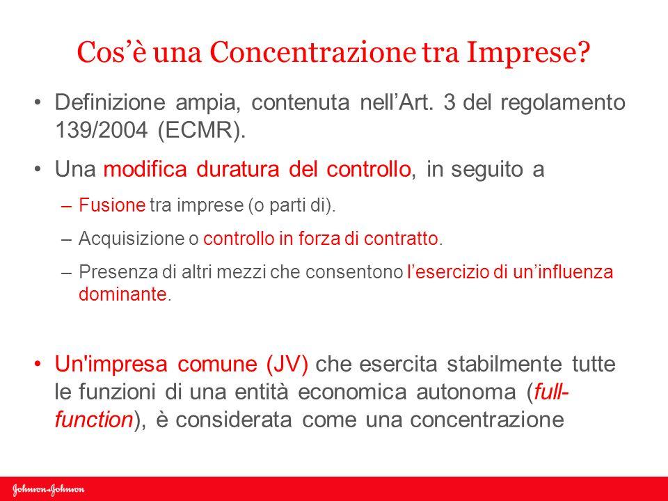Cosè una Concentrazione tra Imprese? Definizione ampia, contenuta nellArt. 3 del regolamento 139/2004 (ECMR). Una modifica duratura del controllo, in