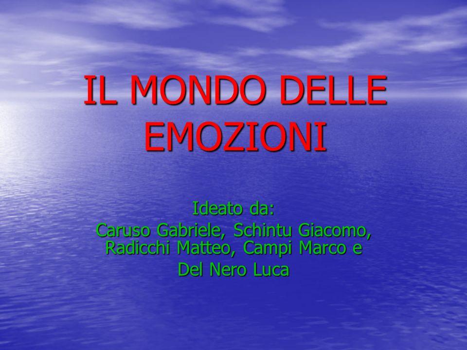 IL MONDO DELLE EMOZIONI Ideato da: Caruso Gabriele, Schintu Giacomo, Radicchi Matteo, Campi Marco e Del Nero Luca
