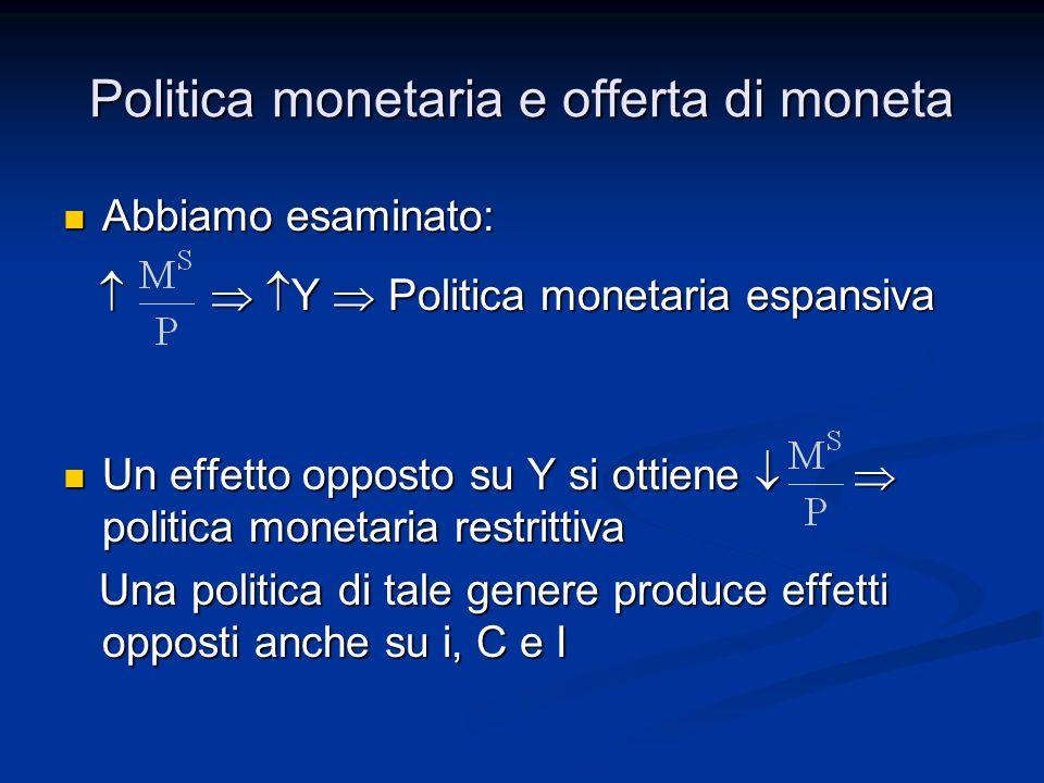 Abbiamo esaminato: Abbiamo esaminato: Y Politica monetaria espansiva Y Politica monetaria espansiva Un effetto opposto su Y si ottiene politica moneta