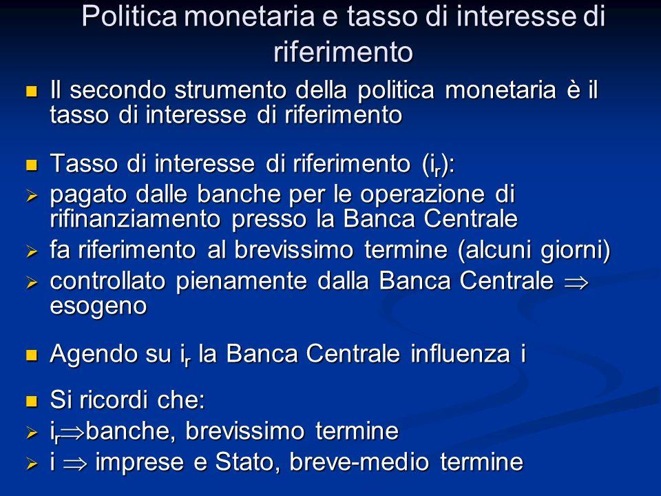 Politica monetaria e tasso di interesse di riferimento Il secondo strumento della politica monetaria è il tasso di interesse di riferimento Il secondo