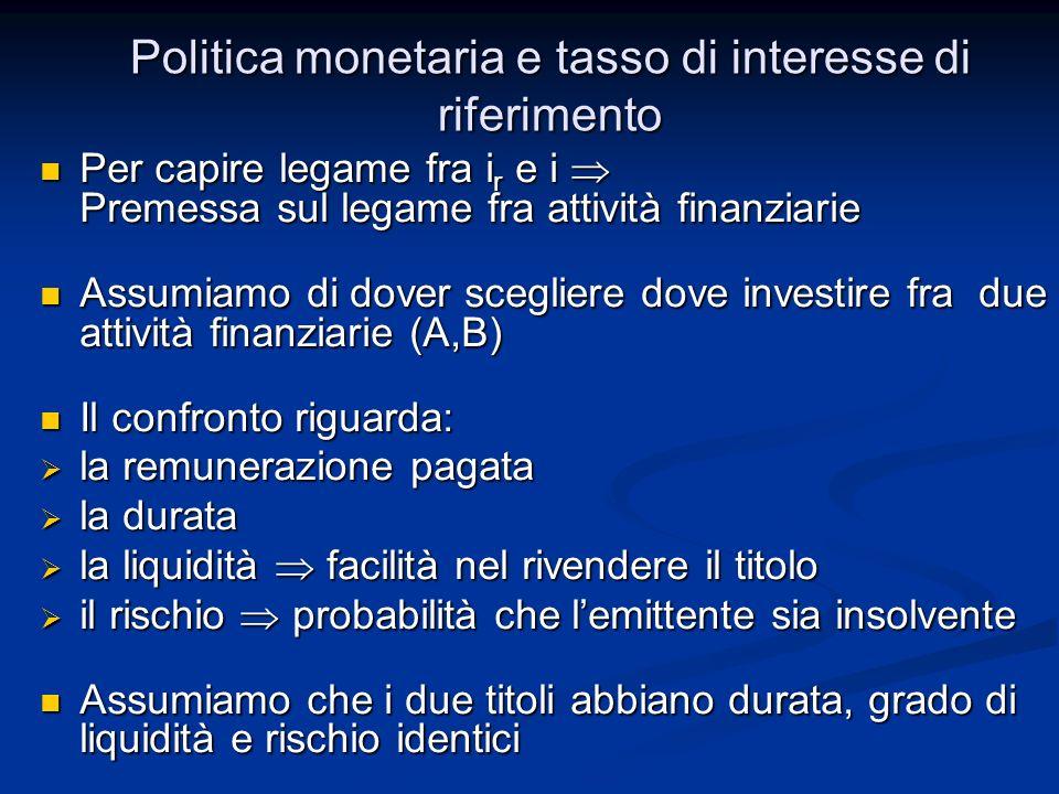 Politica monetaria e tasso di interesse di riferimento Per capire legame fra i r e i Premessa sul legame fra attività finanziarie Per capire legame fr