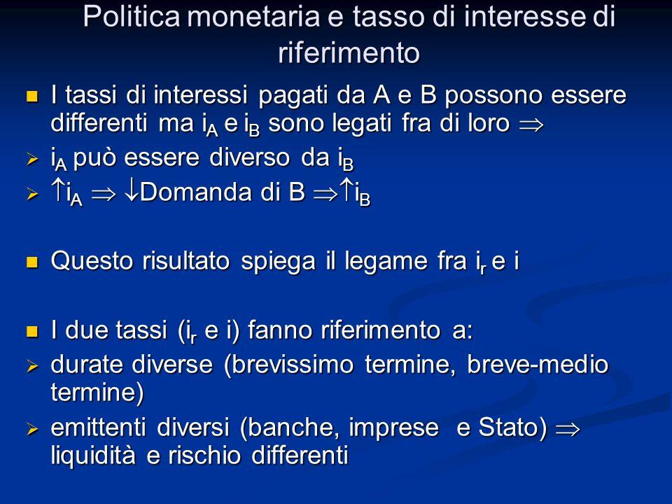 Politica monetaria e tasso di interesse di riferimento I tassi di interessi pagati da A e B possono essere differenti ma i A e i B sono legati fra di