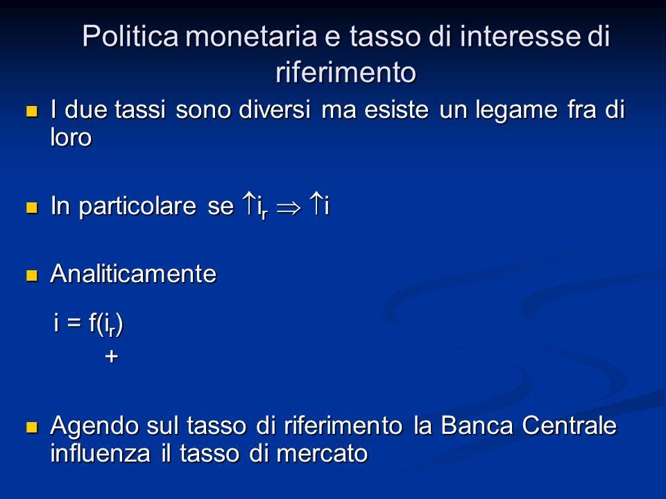Politica monetaria e tasso di interesse di riferimento I due tassi sono diversi ma esiste un legame fra di loro I due tassi sono diversi ma esiste un