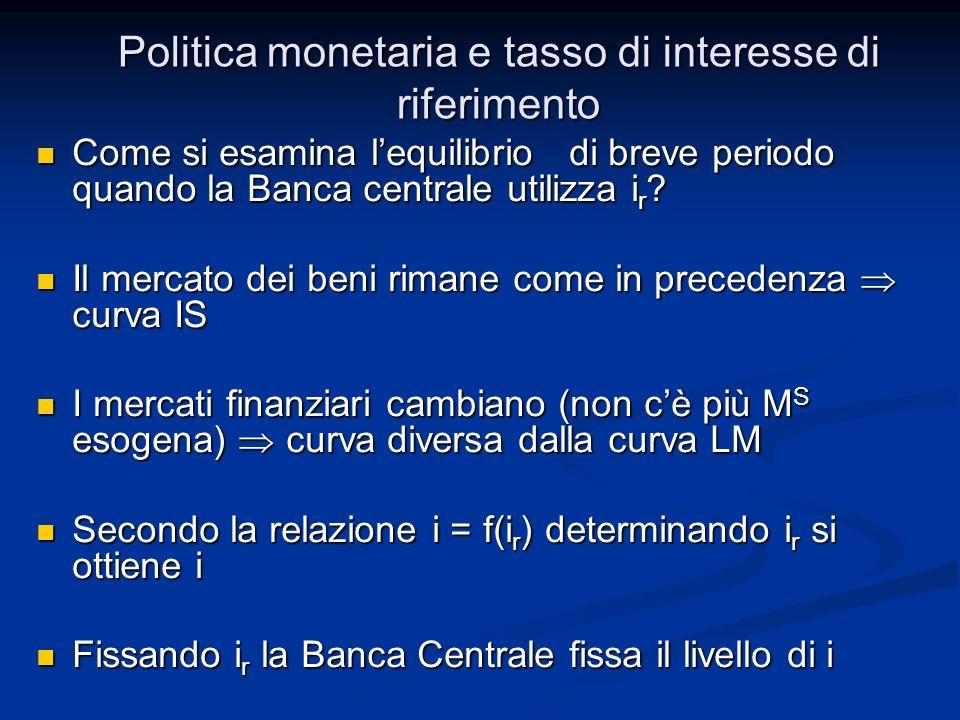 Politica monetaria e tasso di interesse di riferimento Come si esamina lequilibrio di breve periodo quando la Banca centrale utilizza i r ? Come si es