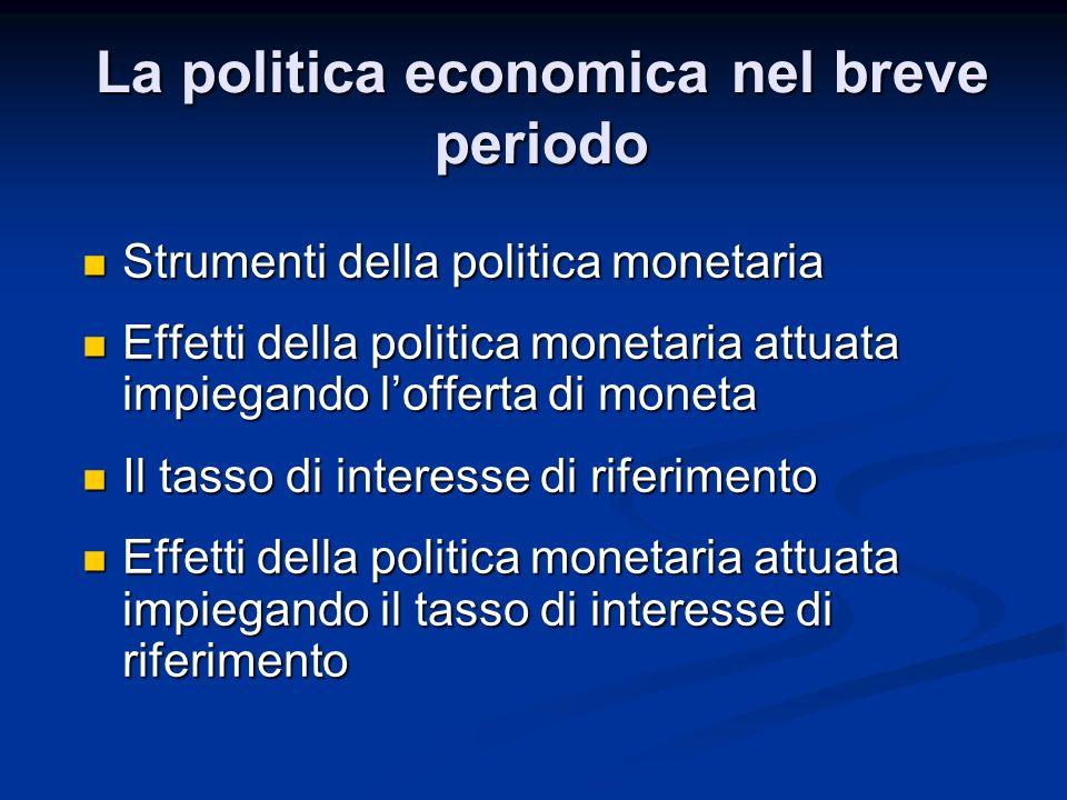 Strumenti della politica monetaria Strumenti della politica monetaria Effetti della politica monetaria attuata impiegando lofferta di moneta Effetti d