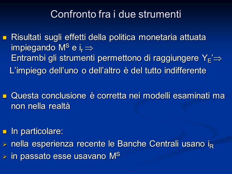 Risultati sugli effetti della politica monetaria attuata impiegando M S e i r Entrambi gli strumenti permettono di raggiungere Y E Risultati sugli eff