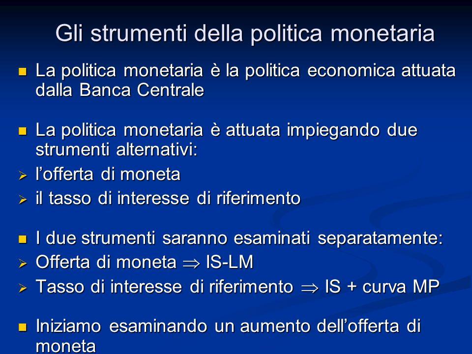 Gli strumenti della politica monetaria La politica monetaria è la politica economica attuata dalla Banca Centrale La politica monetaria è la politica