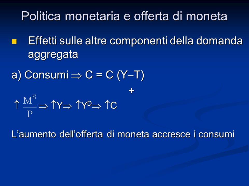 Effetti sulle altre componenti della domanda aggregata Effetti sulle altre componenti della domanda aggregata a) Consumi C = C (Y T) + Y Y D C Y Y D C
