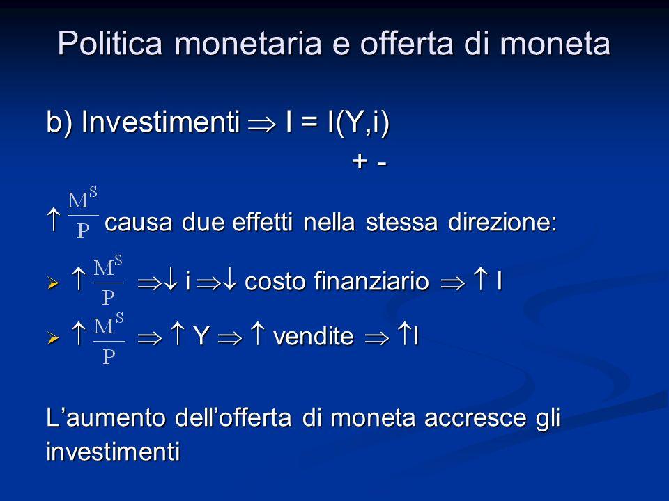 b) Investimenti I = I(Y,i) + - + - causa due effetti nella stessa direzione: causa due effetti nella stessa direzione: i costo finanziario I i costo f