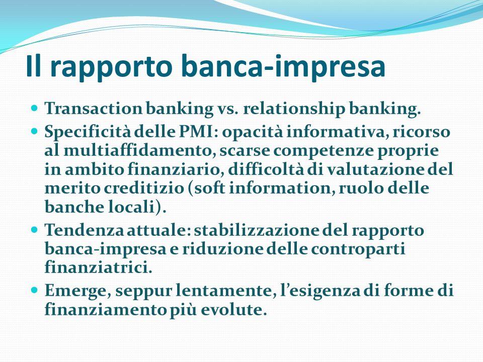Il rapporto banca-impresa Transaction banking vs.relationship banking.