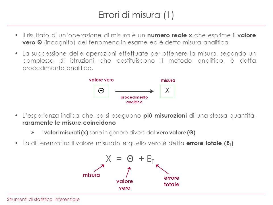 Strumenti di statistica inferenziale Errori di misura (1) Il risultato di unoperazione di misura è un numero reale x che esprime il valore vero (incog