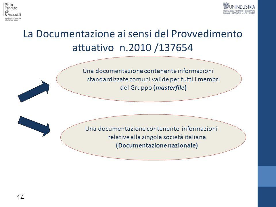 La Documentazione ai sensi del Provvedimento attuativo n.2010 /137654 Una documentazione contenente informazioni standardizzate comuni valide per tutt