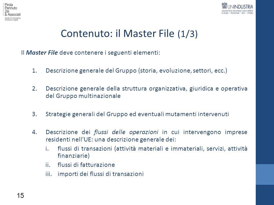 Contenuto: il Master File (1/3) Il Master File deve contenere i seguenti elementi: 1.Descrizione generale del Gruppo (storia, evoluzione, settori, ecc