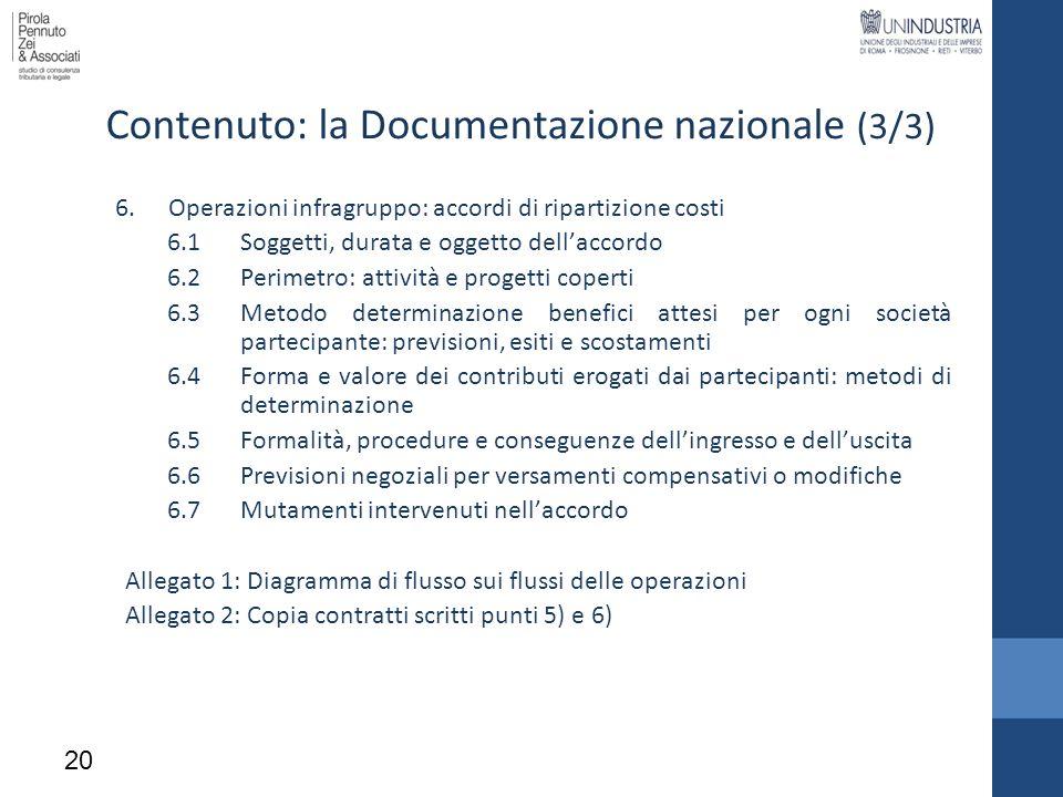 6.Operazioni infragruppo: accordi di ripartizione costi 6.1Soggetti, durata e oggetto dellaccordo 6.2Perimetro: attività e progetti coperti 6.3Metodo