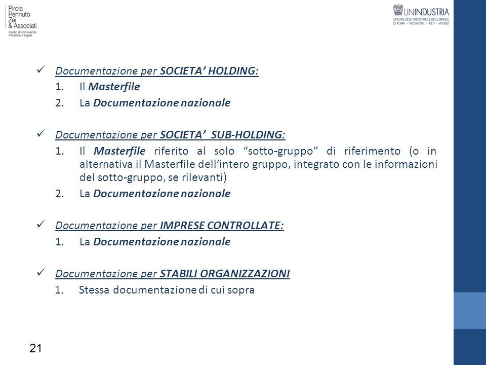 Documentazione per SOCIETA HOLDING: 1.Il Masterfile 2.La Documentazione nazionale Documentazione per SOCIETA SUB-HOLDING: 1.Il Masterfile riferito al