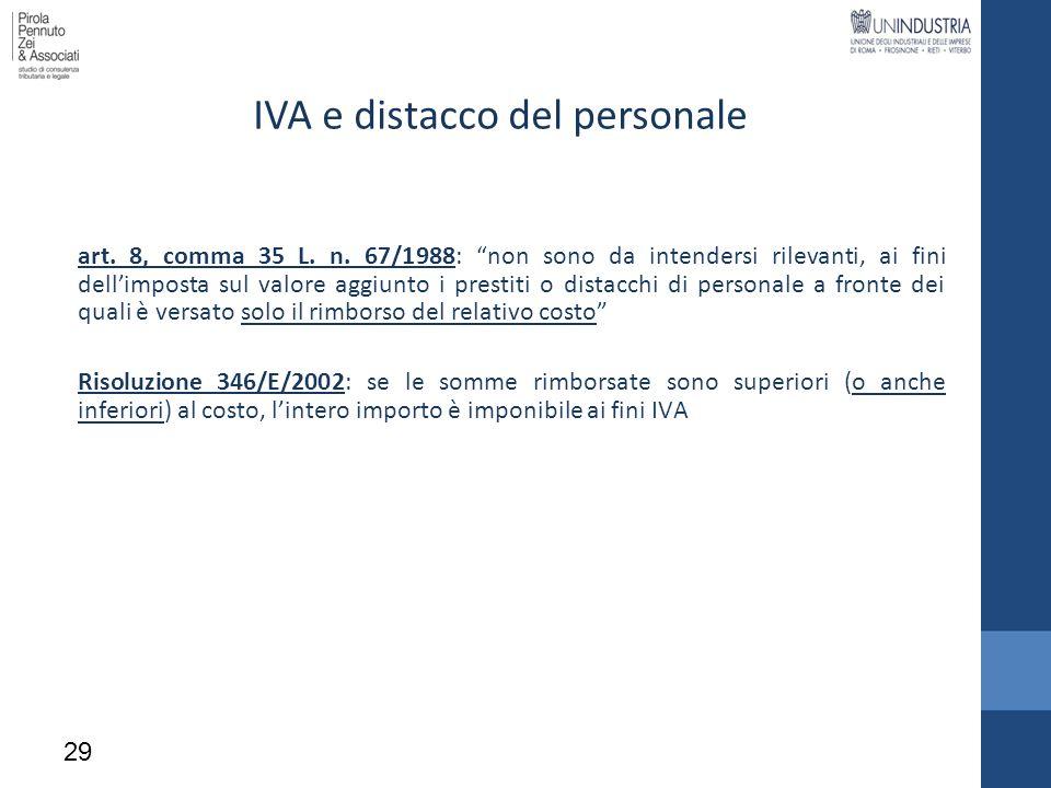 IVA e distacco del personale art. 8, comma 35 L. n. 67/1988: non sono da intendersi rilevanti, ai fini dellimposta sul valore aggiunto i prestiti o di