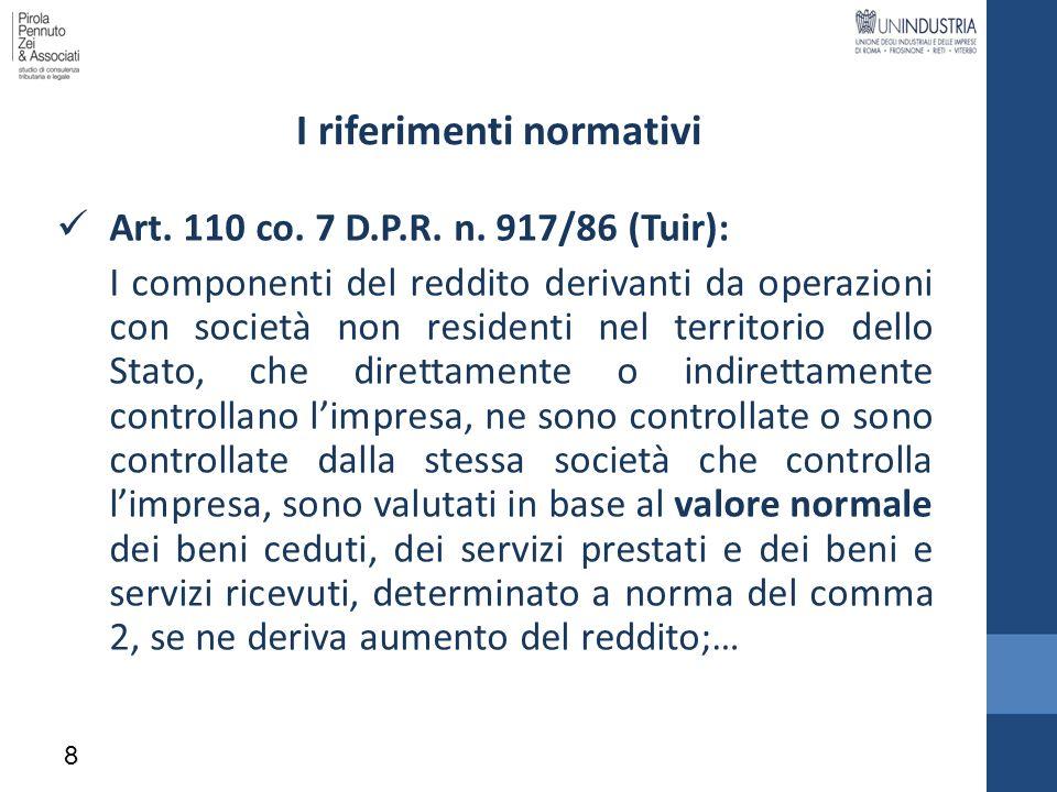 Contenuto: la Documentazione nazionale (2/3) 5.1.2 Analisi di comparabilità: a) Caratteristiche dei beni e servizi b) Funzioni svolte, rischi assunti e beni utilizzati c) Termini contrattuali d) Condizioni economiche (tratti generali del mercato di riferim.) e) Strategie dellimpresa 5.1.3 Metodo adottato per determinare i prezzi di trasferimento a) Enunciazione del metodo e ragioni della sua conformità b) Criteri di applicazione del metodo: transazioni comparabili (?) c) Risultati dellapplicazione del metodo adottato 19