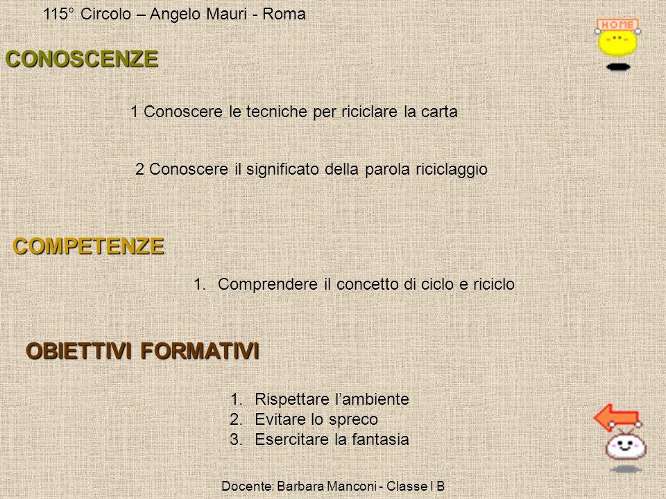 115° Circolo – Angelo Mauri - Roma Docente: Barbara Manconi - Classe I B 1.Comprendere il concetto di ciclo e riciclo 1 Conoscere le tecniche per rici