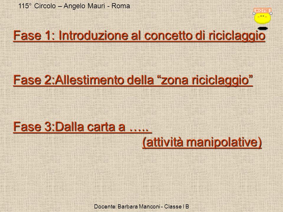 115° Circolo – Angelo Mauri - Roma Docente: Barbara Manconi - Classe I B Fase 1: Introduzione al concetto di riciclaggio Fase 1: Introduzione al conce