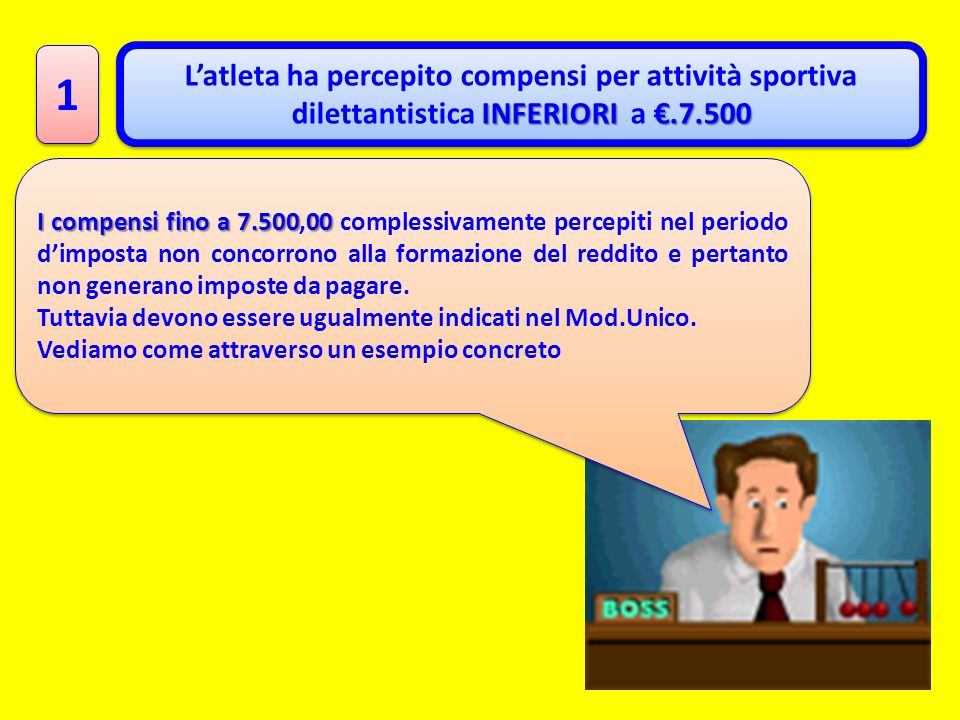 1 1 INFERIORI.7.500 Latleta ha percepito compensi per attività sportiva dilettantistica INFERIORI a.7.500 I compensi fino a 7.50000 I compensi fino a