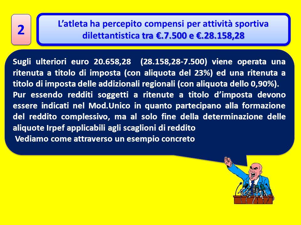 2 2 tra.7.500 e.28.158,28 Latleta ha percepito compensi per attività sportiva dilettantistica tra.7.500 e.28.158,28 Sugli ulteriori euro 20.658,28 (28