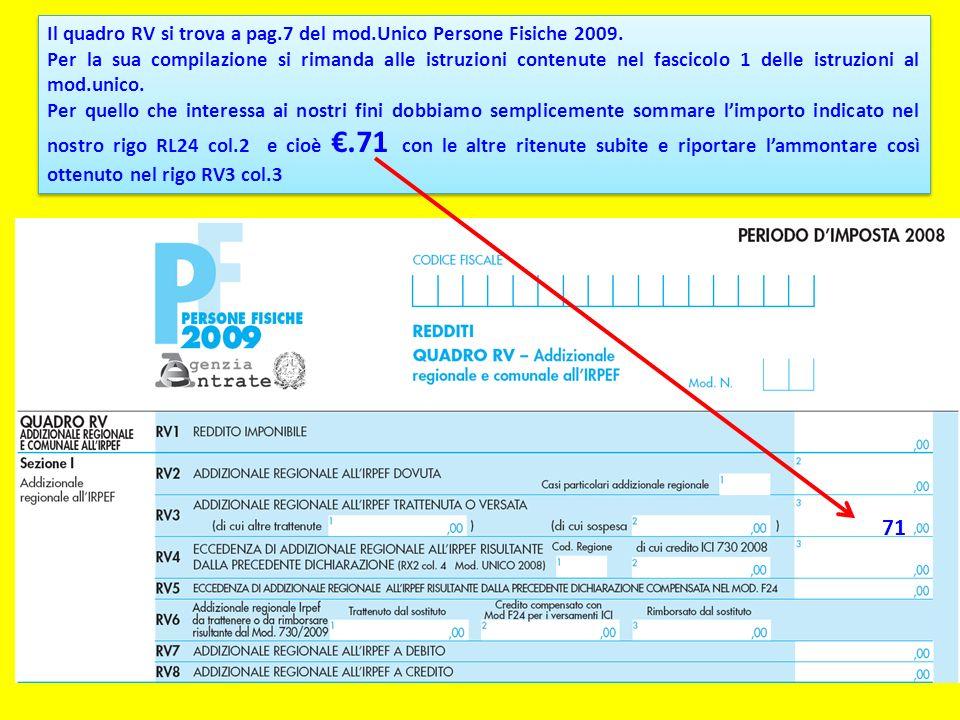Il quadro RV si trova a pag.7 del mod.Unico Persone Fisiche 2009. Per la sua compilazione si rimanda alle istruzioni contenute nel fascicolo 1 delle i