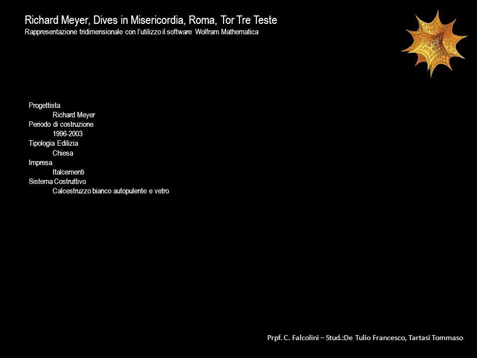 Richard Meyer, Dives in Misericordia, Roma, Tor Tre Teste Rappresentazione tridimensionale con lutilizzo il software Wolfram Mathematica Prpf. C. Falc