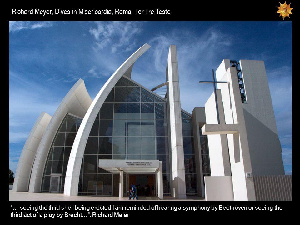 La Chiesa di Tor Tre Teste appare improvvisamente, piena di luce e di forza espressiva, tra i grandi palazzi del moderno quartiere romano di Tor Tre Teste.
