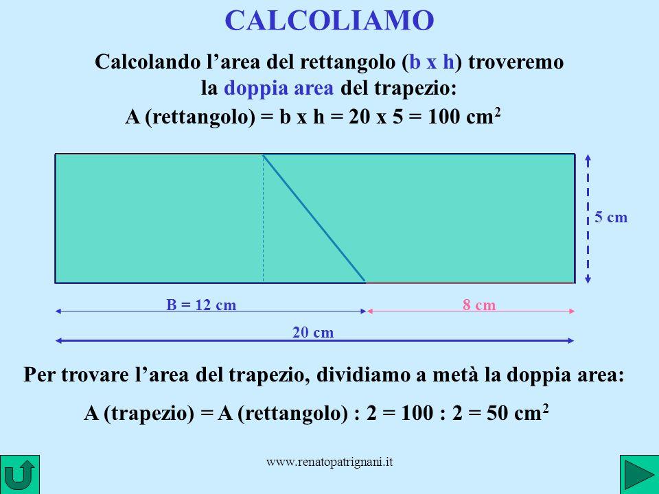 www.renatopatrignani.it CALCOLIAMO B = 12 cm Calcolando larea del rettangolo (b x h) troveremo la doppia area del trapezio: 8 cm 5 cm 20 cm A (rettang