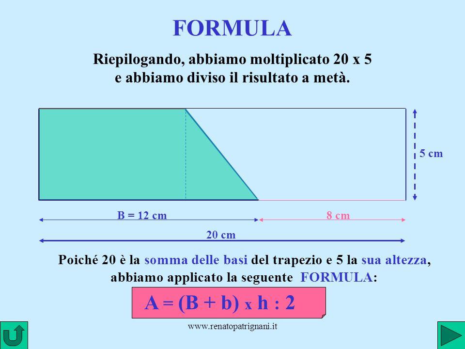 www.renatopatrignani.it FORMULA B = 12 cm Riepilogando, abbiamo moltiplicato 20 x 5 e abbiamo diviso il risultato a metà. 8 cm 5 cm 20 cm Poiché 20 è