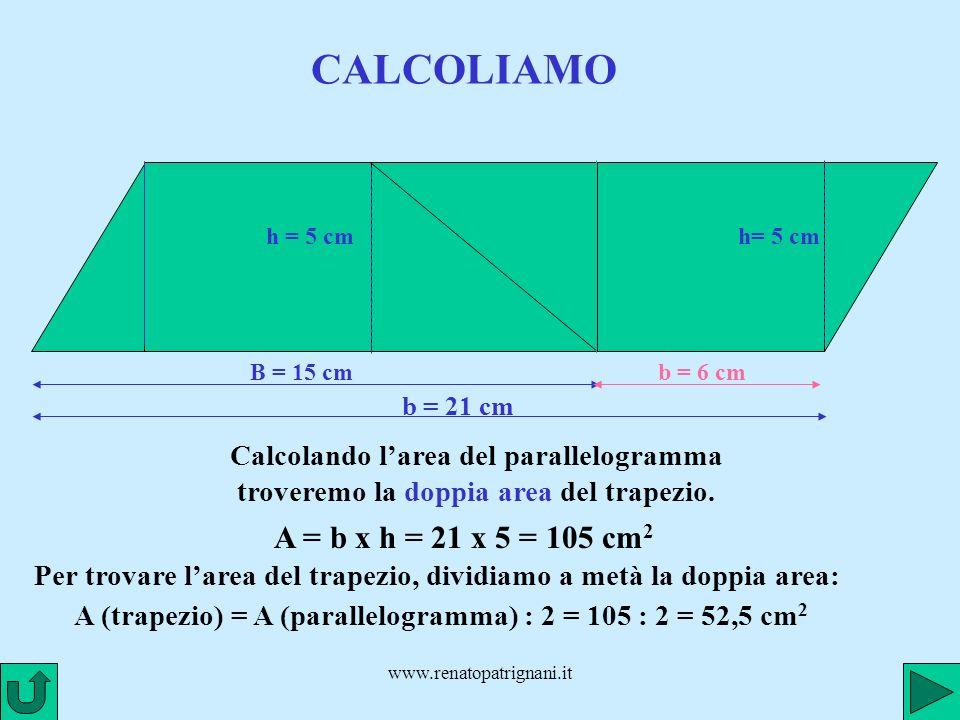 www.renatopatrignani.it CALCOLIAMO B = 15 cm h = 5 cm b = 6 cm h= 5 cm b = 21 cm Calcolando larea del parallelogramma troveremo la doppia area del tra