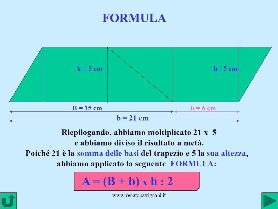 www.renatopatrignani.it FORMULA B = 15 cm h = 5 cm b = 6 cm h= 5 cm b = 21 cm Riepilogando, abbiamo moltiplicato 21 x 5 e abbiamo diviso il risultato