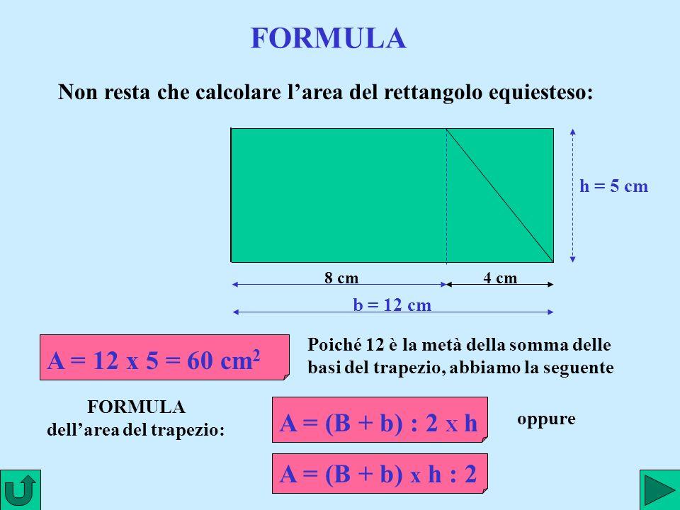 www.renatopatrignani.it FORMULA 8 cm4 cm Non resta che calcolare larea del rettangolo equiesteso: b = 12 cm A = (B + b) : 2 X h A = 12 x 5 = 60 cm 2 h