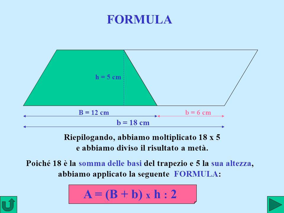 www.renatopatrignani.it FORMULA B = 12 cm h = 5 cm b = 6 cm b = 18 cm Riepilogando, abbiamo moltiplicato 18 x 5 e abbiamo diviso il risultato a metà.
