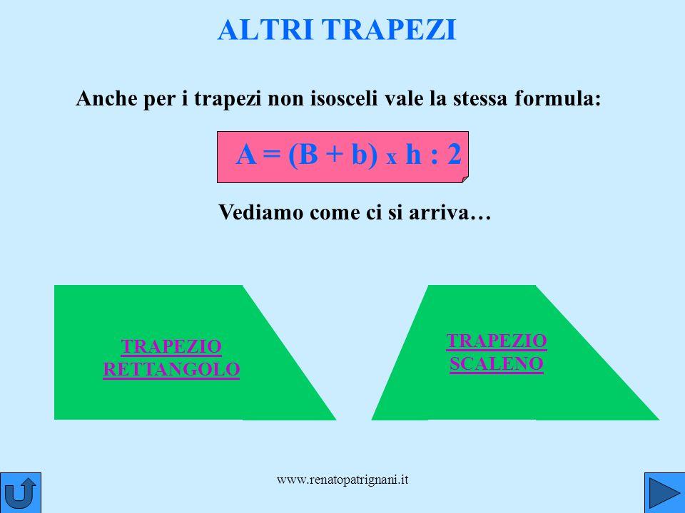 www.renatopatrignani.it TRAPEZIO RETTANGOLO ALTRI TRAPEZI Anche per i trapezi non isosceli vale la stessa formula: A = (B + b) x h : 2 Vediamo come ci