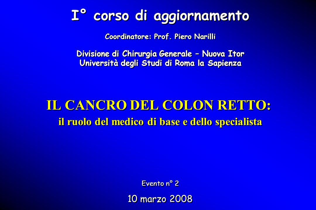IL CANCRO DEL COLON RETTO: il ruolo del medico di base e dello specialista I° corso di aggiornamento Coordinatore: Prof. Piero Narilli Divisione di Ch