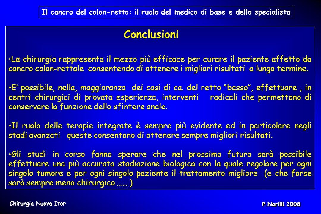 Conclusioni La chirurgia rappresenta il mezzo più efficace per curare il paziente affetto da cancro colon-rettale consentendo di ottenere i migliori r