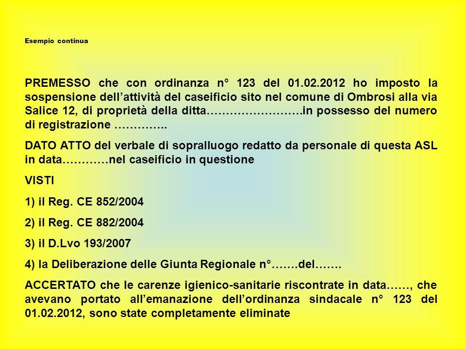 Esempio continua PREMESSO che con ordinanza n° 123 del 01.02.2012 ho imposto la sospensione dellattività del caseificio sito nel comune di Ombrosi alla via Salice 12, di proprietà della ditta…………………….in possesso del numero di registrazione …………..