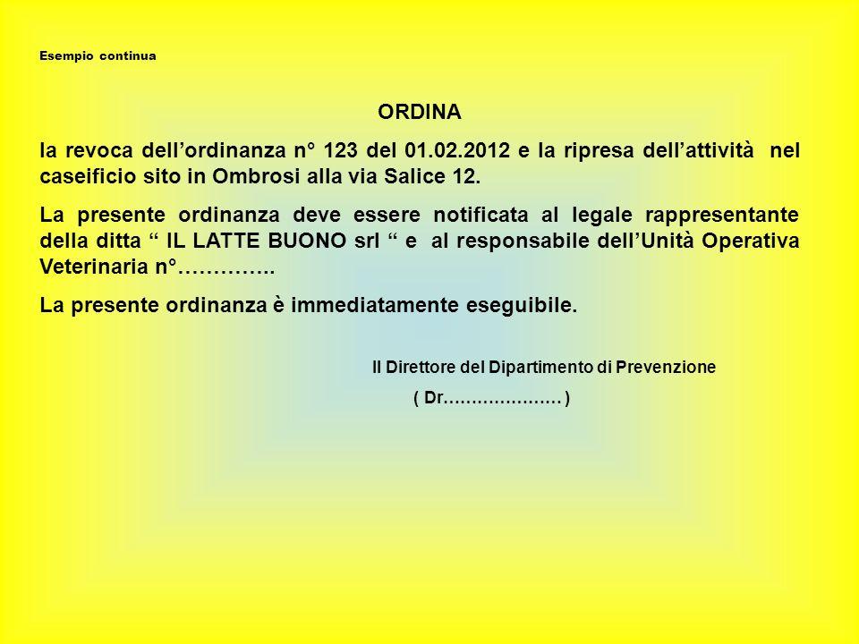 Esempio continua ORDINA la revoca dellordinanza n° 123 del 01.02.2012 e la ripresa dellattività nel caseificio sito in Ombrosi alla via Salice 12.