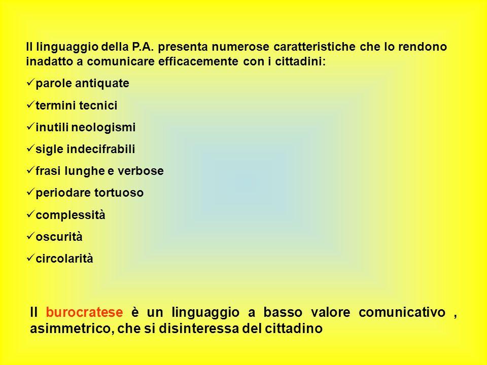 Il linguaggio della P.A.